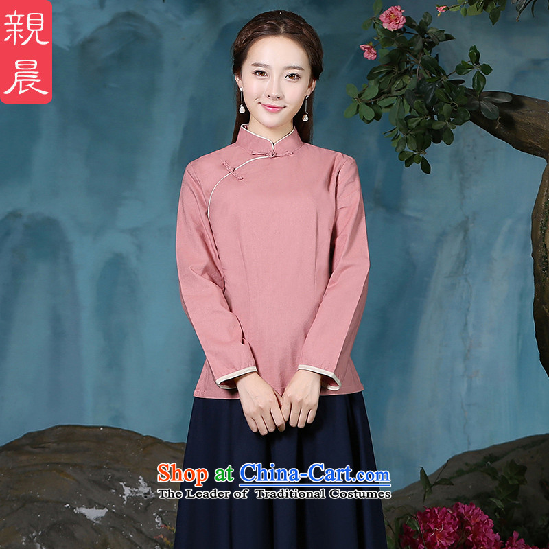 The new 2015 pro-morning cotton linen clothes female autumn and winter qipao of daily improved stylish Tang Dynasty Chinese Han-long-sleeved shirt�L