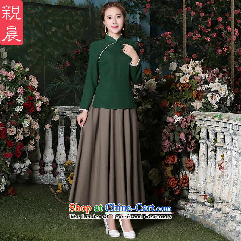 The pro-am new cotton linen clothes 2015 improved daily qipao Stylish retro autumn and winter, president of Chinese Dress Shirt + card its long skirt�L