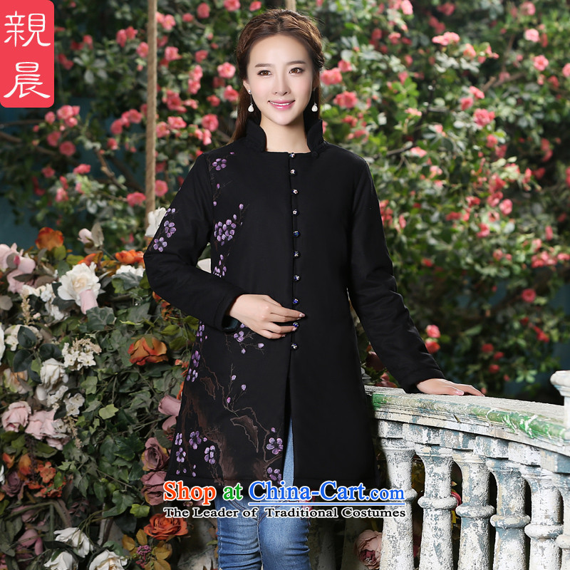 Female Tang blouses 2015 new autumn and winter coat in the women's long of Chinese long-sleeved improved large cotton linen coat black�M