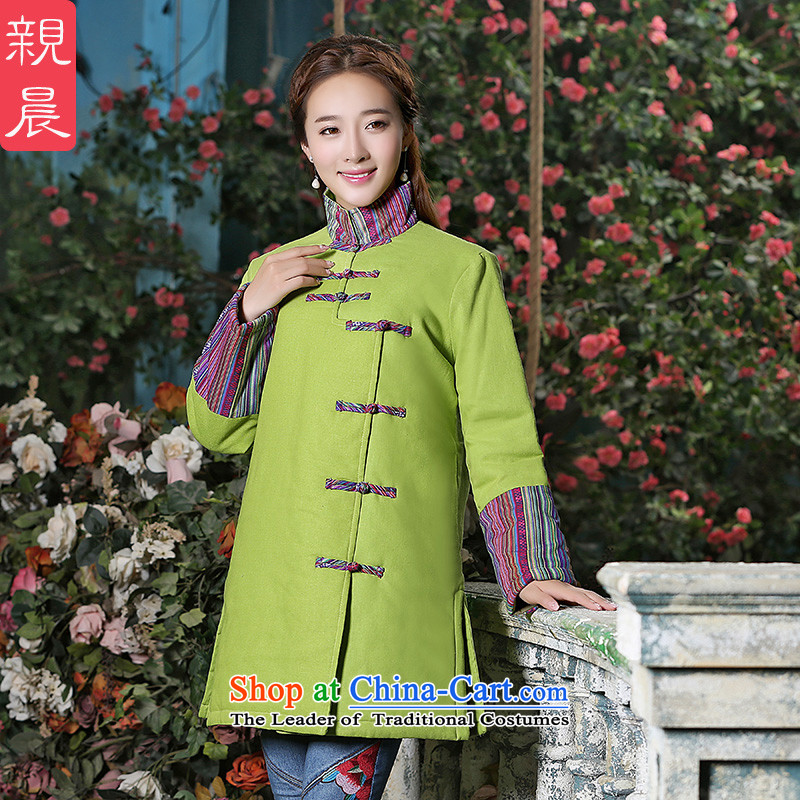 Ms. Tang improved blouses 2015 Fall_Winter Collections in new women's long long-sleeved stylish large cotton linen coat green?M