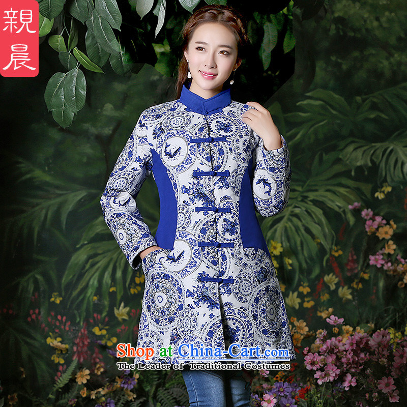 Tang Dynasty Chinese women 2015 Fall_Winter Collections improved retro China wind cotton linen coat large long-sleeved shirt and stylish porcelain燲L