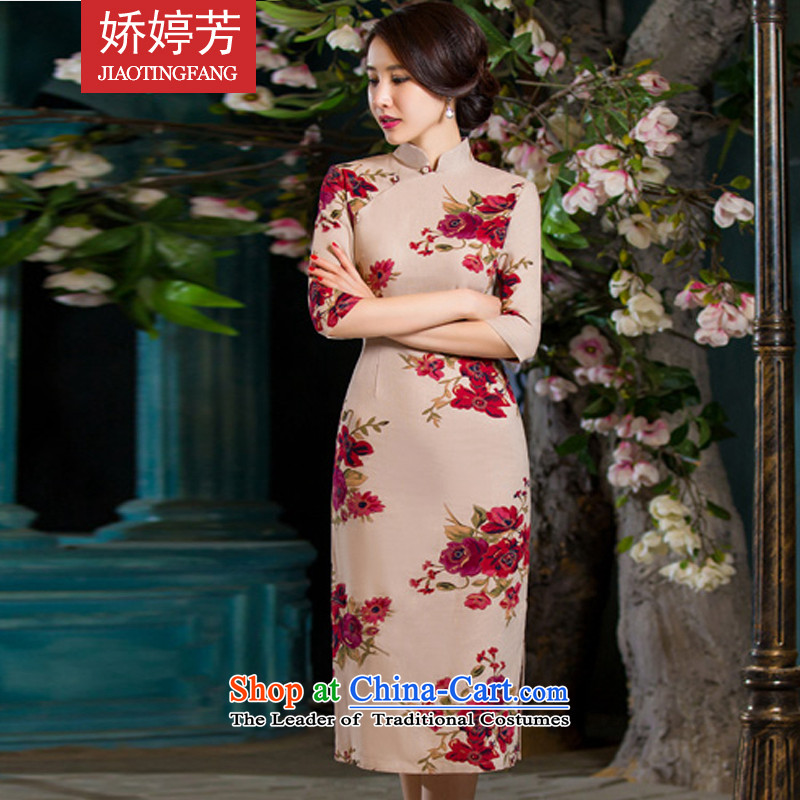 To Ting-fang 2015 Autumn new for women in Sau San video thin retro large cuff linen dresses in Bihac improved long cheongsam dress garden XXL