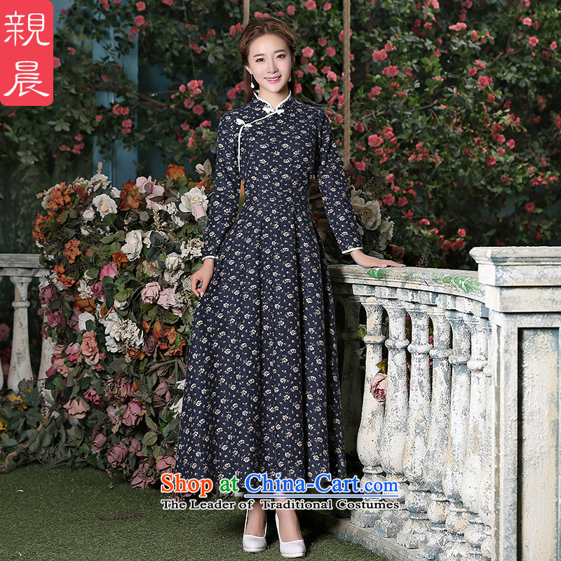 Dress autumn 2015 replacing long-sleeved kit skirt larger Female dress with a gross? long skirt Fashion jacket ink, dresses + red long coats?M