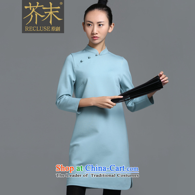 【 mustard original health code_China wind in the new Chinese disc is pressed to tie small collar improved cheongsam dress women female designers autumn and winter dresses days cyan spot M