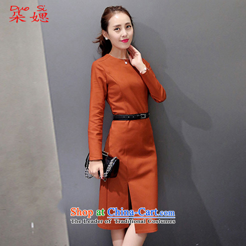 ? The new 2015 媤 flower autumn and winter was improved and stylish decor, day-to-day long-sleeved cheongsam dress rusty red?XL