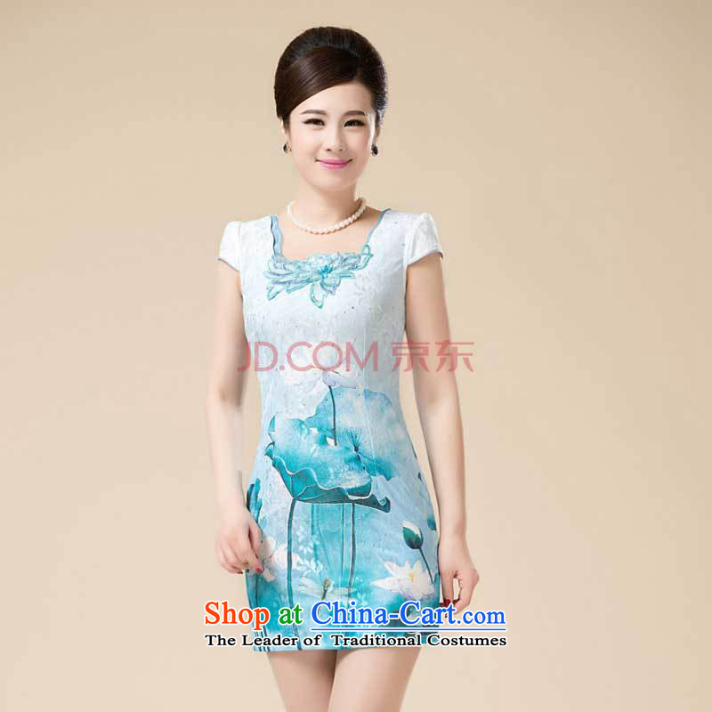 New Stylish retro fitted snap-qipao girls temperament Sau San Tong load improved dresses�HZMWL1820�green�M