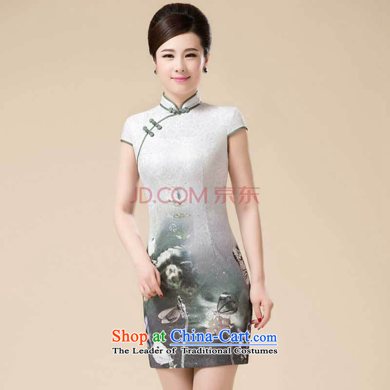 New Stylish retro fitted cheongsam look like teenage Sau San Tong replacing niba improved dresses�HZMWL1813��XXXL Gray