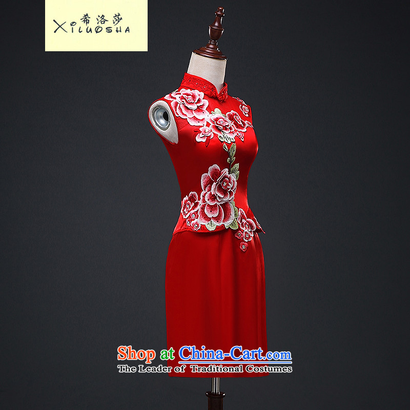 Hillo _XILUOSHA_ Elizabeth short of qipao marriage bows Service Bridal cheongsam dress embroidery Chinese Dress autumn 2015 New Red?M