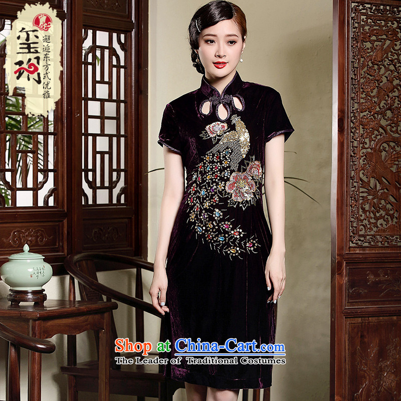 The fall of the new seal manually staple bead cheongsam dress PEACOCK, elegant wedding dresses retro dresses purple�4XL