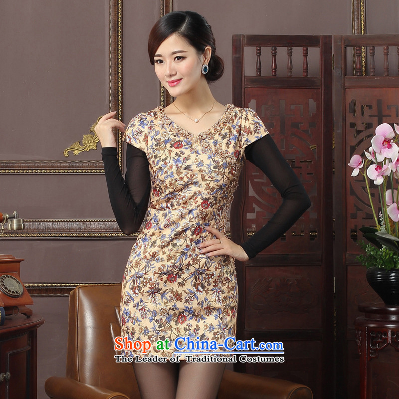 Oriental aristocratic Kam wadding 2015 autumn and winter new cotton qipao cheongsam dress daily improved elegant nail pearl embroidery warm?brown 574607 qipao?M