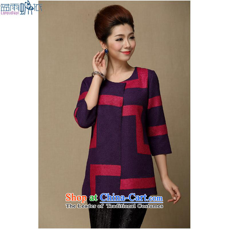 The spring and summer of 2015, a new Women's jacket, older women's clothes mother spring jacket�XXXL Purple
