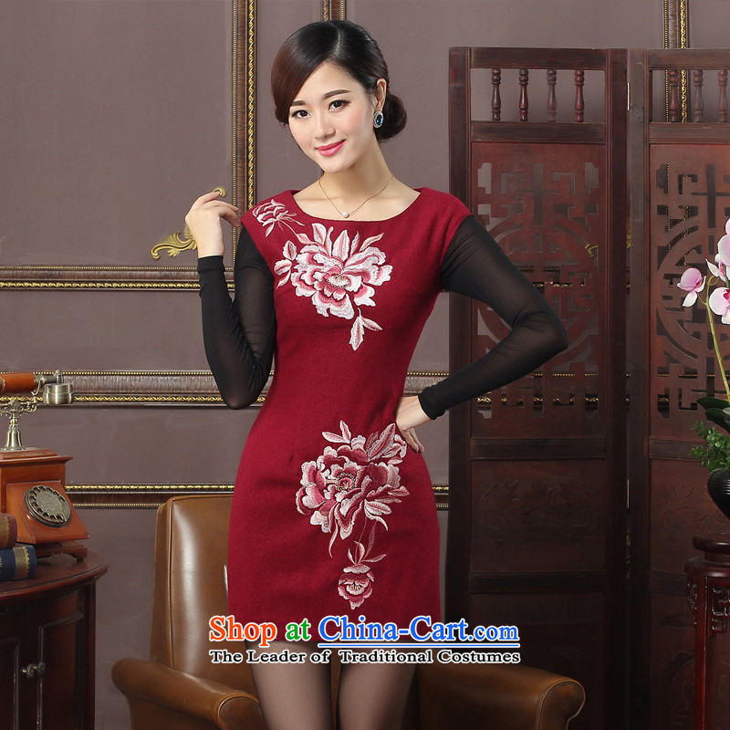 The aristocratic oriental 2015 autumn and winter new wool sleeveless qipao is simple and stylish large flower cheongsam dress Warm 574415 daily improved BOURDEAUX L