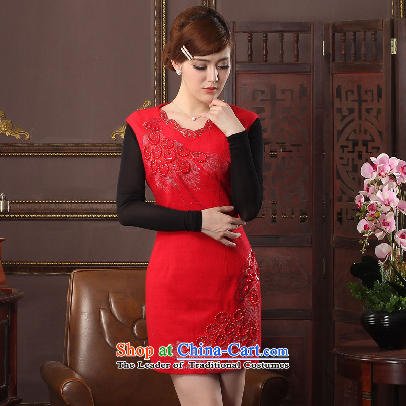 Oriental aristocratic birds Ling on the 2015 autumn and winter new wool? cheongsam dress daily improved sleeveless cheongsam dress?574401 warm red?XXL