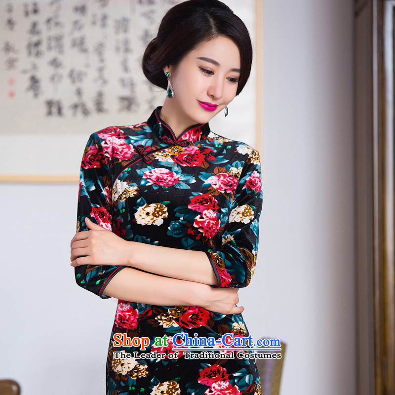 Dan smoke autumn Women's clothes Chinese Antique collar is pressed to improved Stretch Wool in long-sleeved cheongsam dress 7 Figure Color L