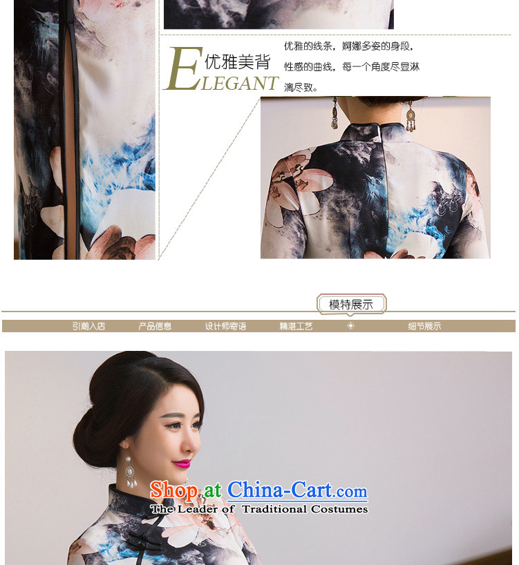 Dan smoke Autumn Chinese Women's clothes retro Sau San Mock-neck 7 cuff cheongsam dress qipao paintings in improved silk figure color聽L picture, prices, brand platters! The elections are supplied in the national character of distribution, so action, buy now enjoy more preferential! As soon as possible.