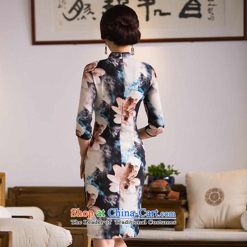 Dan smoke Autumn Chinese Women's clothes retro Sau San Mock-neck 7 cuff cheongsam dress qipao paintings in improved silk figure color聽L, Dan Smoke , , , shopping on the Internet