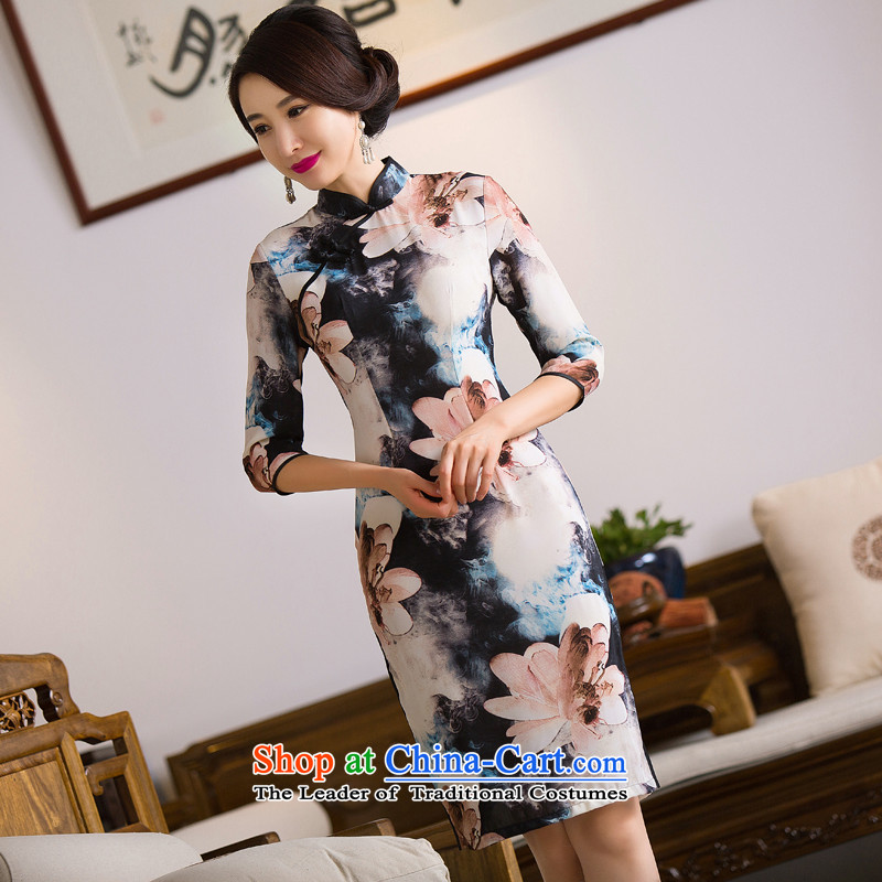 Floral Autumn Chinese Women's clothes retro Sau San Mock-neck 7 cuff cheongsam dress qipao paintings in improved silk figure color?L