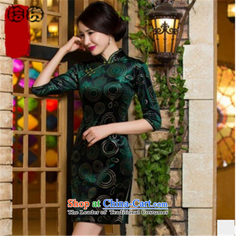 In the fall of 2015, the Volume pick new scouring pads in the short-sleeved video thin qipao gown is skirt temperament MOM pack qipao gown wedding green聽XXL