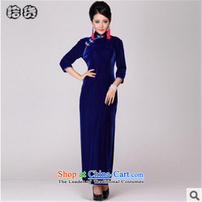 In the fall of 2015, the Volume pick new retro cheongsam dress long skirt long-sleeved stylish evening dress in older married women's clothes mother temperament blue sleeve聽XXL