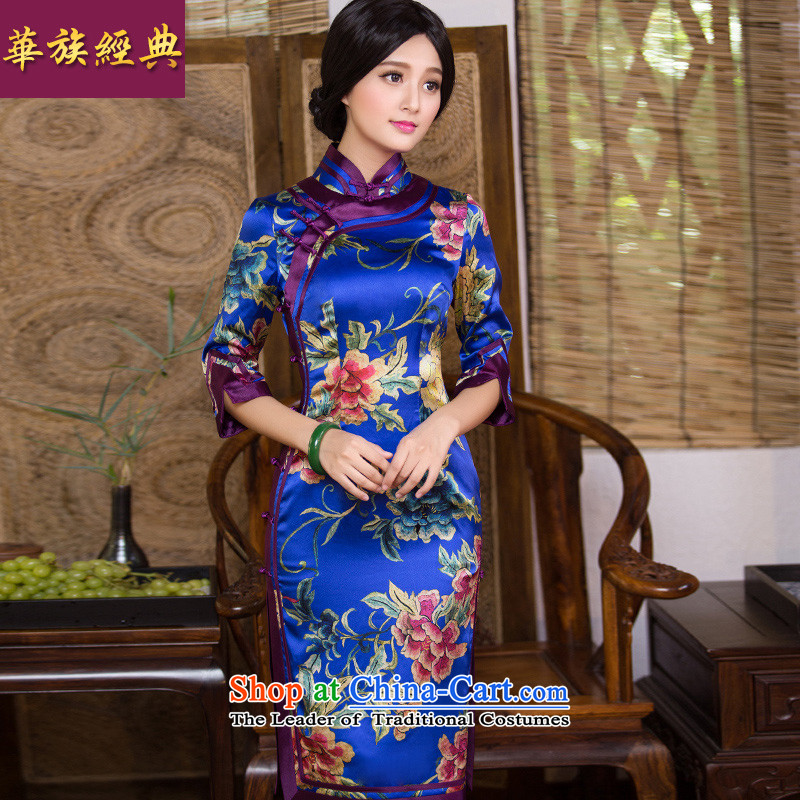 Chinese classic 2015 Autumn load-new retro-to-day 7 to the improvement of qipao cuff Silk Dresses Chinese Dress Suit?M