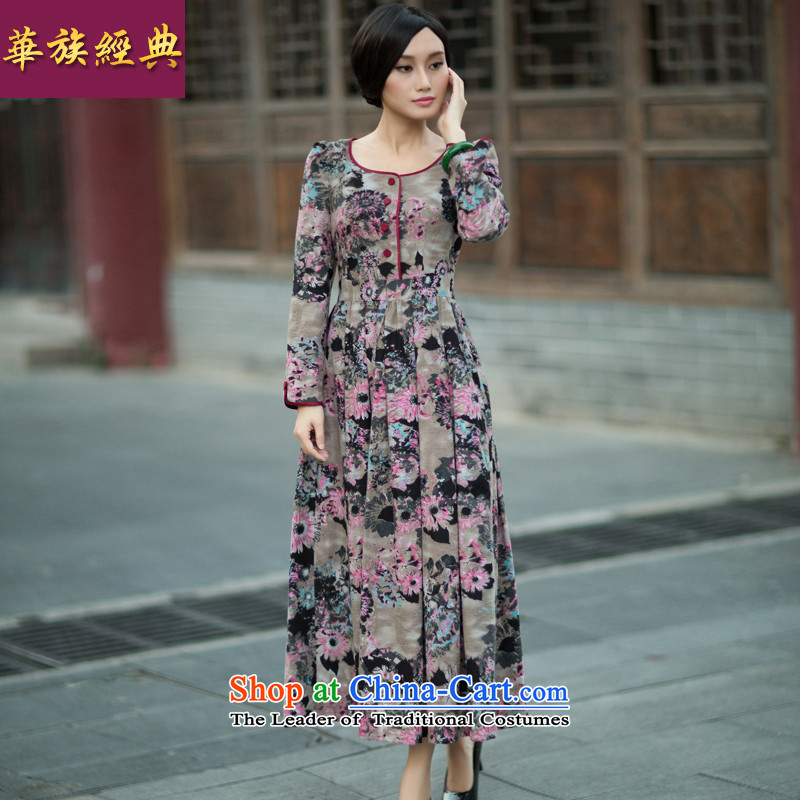 Chinese New Year 2015 classic ethnic Fall/Winter Collections Ms. long-sleeved daily Chinese cheongsam dress suit?XXXL Stylish retro improvement