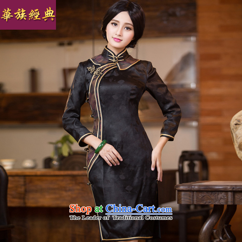 Chinese classic 2015 Autumn of Serb long-sleeved qipao long silk incense cloud yarn skirt Fashion Chinese Dress black improved聽S