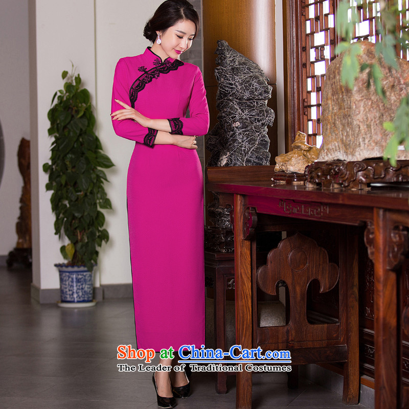 Dan�15 autumn and winter smoke Ms. qipao Stylish retro Sau San 7 cuff dresses cheongsam dress in the medium to long term improvement爄n red燲L 275