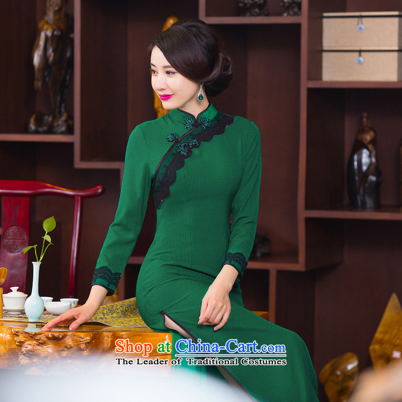 Find Sophie�15 autumn and winter Ms. qipao Stylish retro Sau San 7 cuff dresses cheongsam dress in improved long�6 green燲L