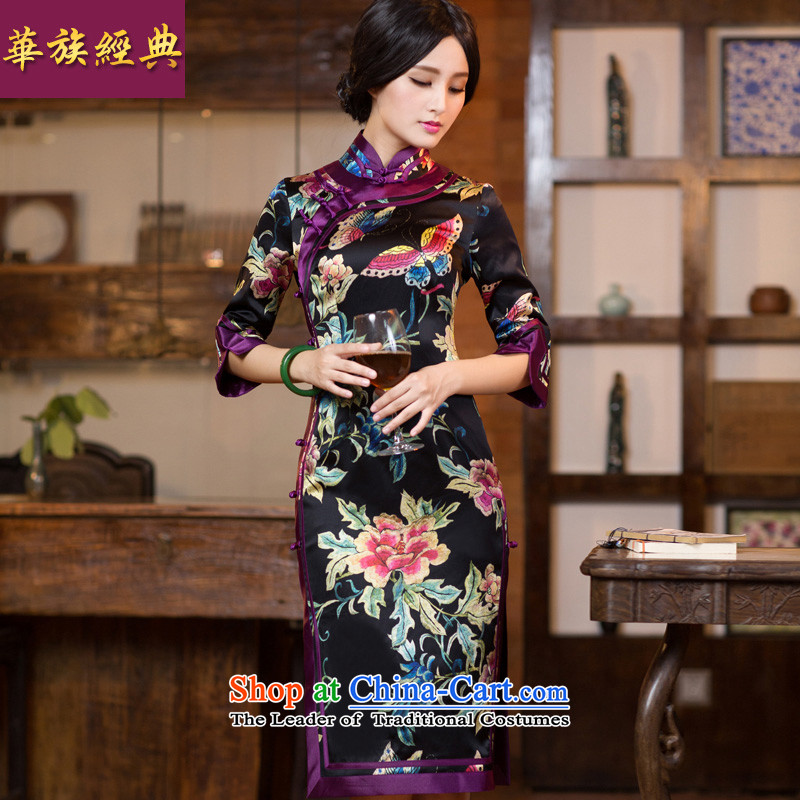 7 cuff long-sleeved qipao silk dresses in long autumn and winter, Ms. Tang dynasty stylish improved燲XXL Suit