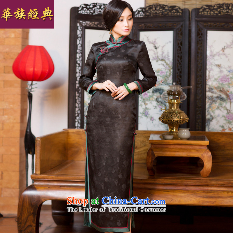 Chinese classic 2015 Autumn of Serb long-sleeved qipao long silk incense cloud yarn skirt Fashion Chinese dress suits improved?L