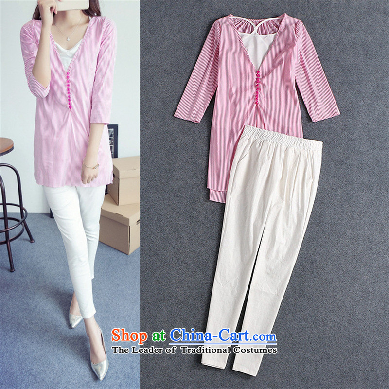 Install the latest Autumn 2015 Hami, Western Female European station toner bars shirt white waistcoat white linen pants outfit three piece B0803 figure�S