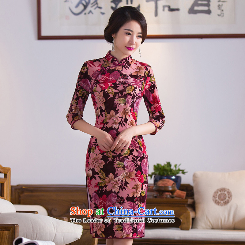 Floral Autumn Chinese Women's clothes improved collar retro qipao Stretch Wool 7 cuff embossing qipao skirt figure color�M