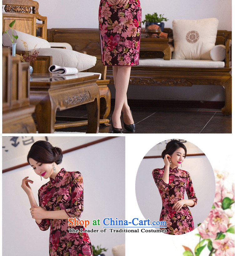 Dan smoke Autumn Chinese Women's clothes improved collar retro qipao Stretch Wool 7 cuff embossing qipao skirt figure color聽pictures, prices, XL brand platters! The elections are supplied in the national character of distribution, so action, buy now enjoy more preferential! As soon as possible.
