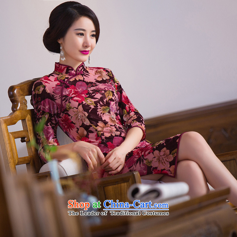Dan smoke Autumn Chinese Women's clothes improved collar retro qipao Stretch Wool 7 cuff embossing qipao skirt Figure Color燲L