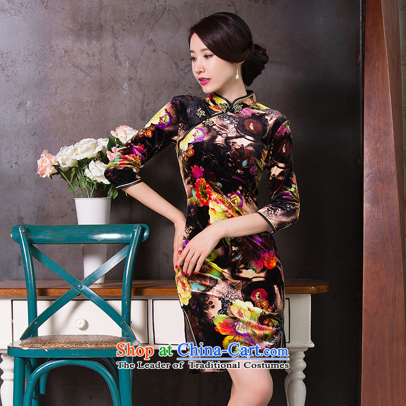 Dan聽2015 Autumn smoke female Chinese collar Stretch Wool qipao retro 7 Cuff Sau San cheongsam dress figure color聽L, Dan Smoke , , , shopping on the Internet