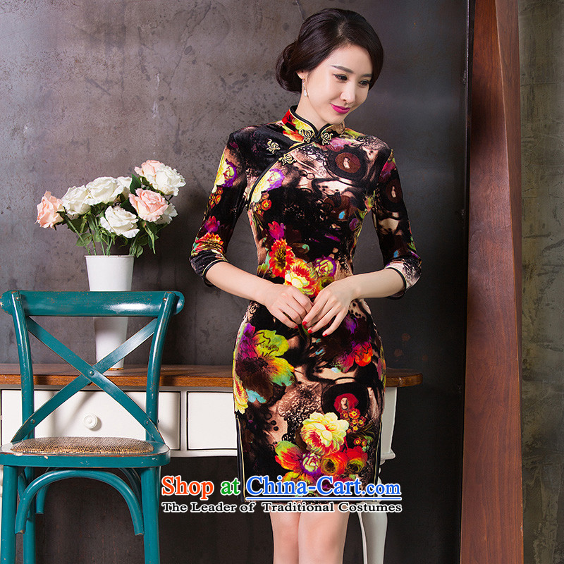 Floral燱OMEN FALL 2015 Chinese collar Stretch Wool qipao retro 7 Cuff Sau San cheongsam dress Figure Color燲L