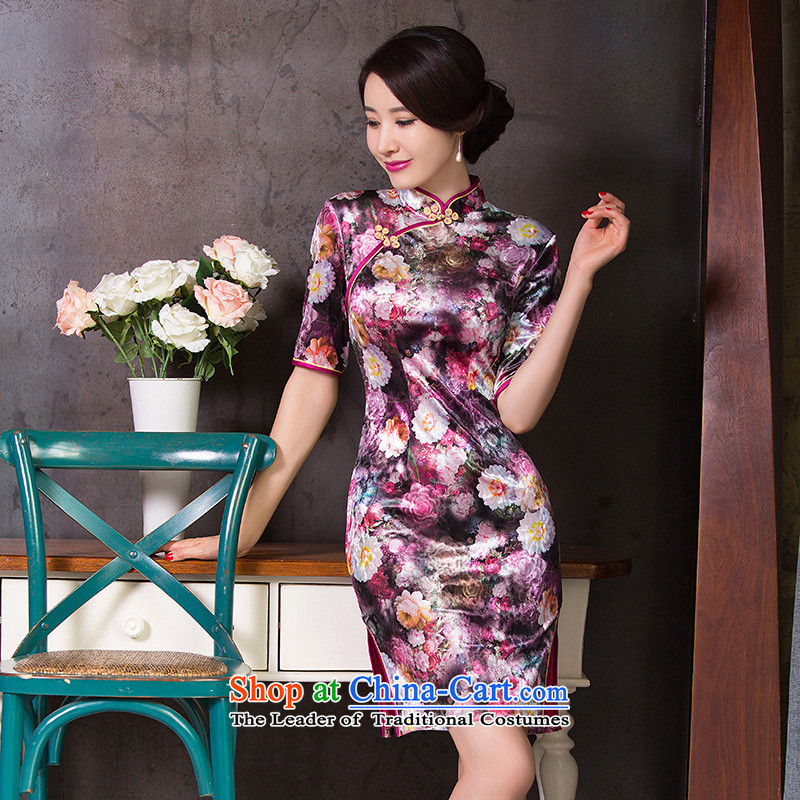 Take the new Figure Boxed Ms. Qiu retro short-sleeved gray velour stretch of Chinese cheongsam dress qipao as shown improved color?S