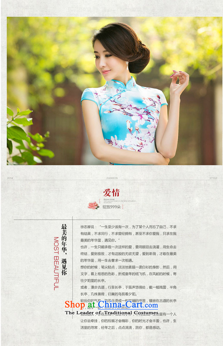 The peach blossom stamp silk retro style daily short sau san the peach blossom stamp silk retro style daily short sau san improved cheongsam dress dresses elegance ombrellifo Images