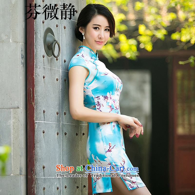 The Peach Blossom stamp silk retro style daily short Sau San improved cheongsam dress dresses elegance bridesmaid dress annual gifts high collar low the forklift truck blue燲L
