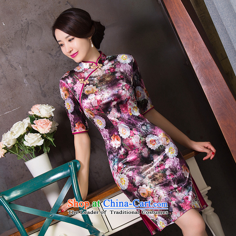 Dan Chu load new smoke retro short of Ms. cuff Stretch Wool Chinese cheongsam dress qipao as shown improved color燤