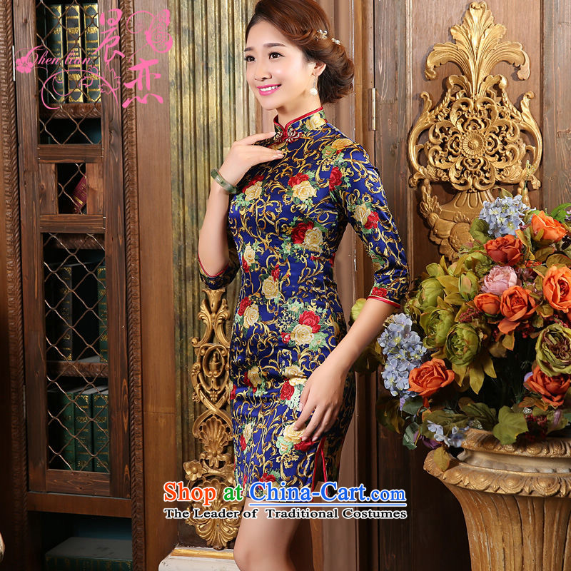 Land 2015 autumn morning new Stylish retro short, long-sleeved improved heavyweight silk cheongsam dress Blue Sapphire Blue�155/S