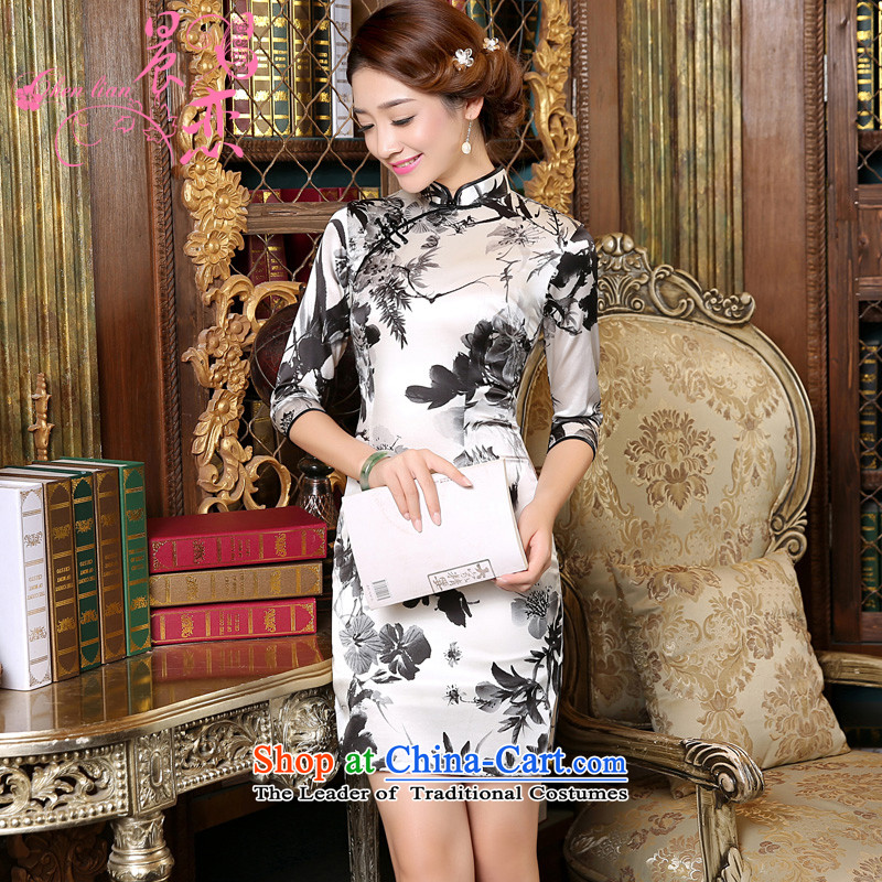 Land 2015 autumn morning new Stylish retro short, long-sleeved improved heavyweight silk cheongsam dress Nga ink Light Gray燣