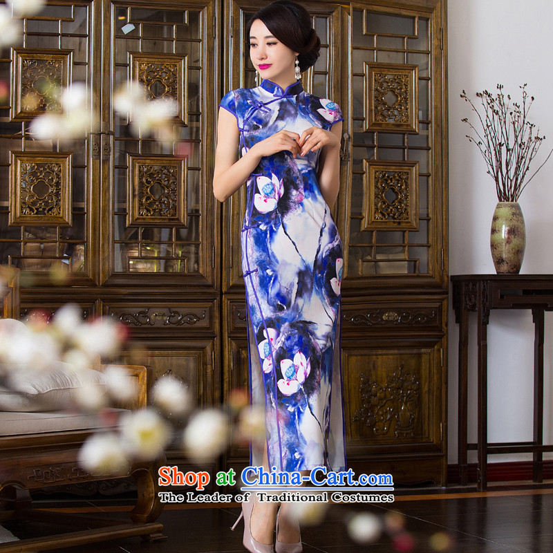 Dan breathing new for women Chinese collar stretch long qipao improved dinner of the Sau San temperament dress dresses figure color?L