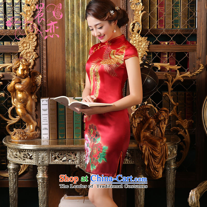 Morning land bride wedding dress bows Services Mr Ronald New 2015 Skirt Red Stylish retro qipao heavyweight silk rusty red燲L