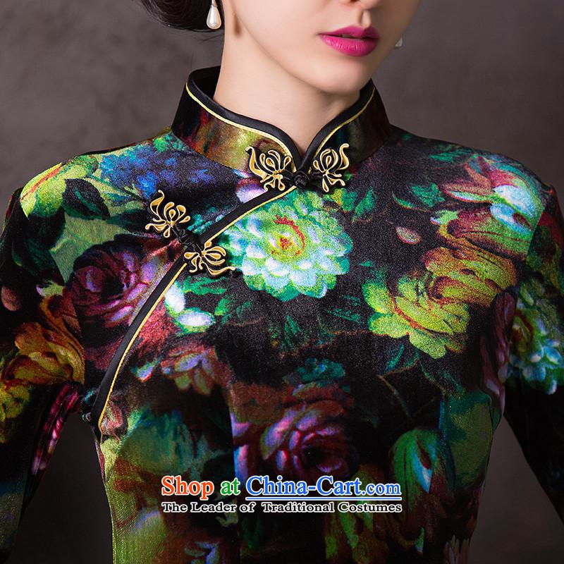 Dan smoke聽Women's clothes autumn 2015 improved cheongsam dress Chinese Sau San velvet collar retro seven short-sleeved qipao figure color聽L, Dan Smoke , , , shopping on the Internet