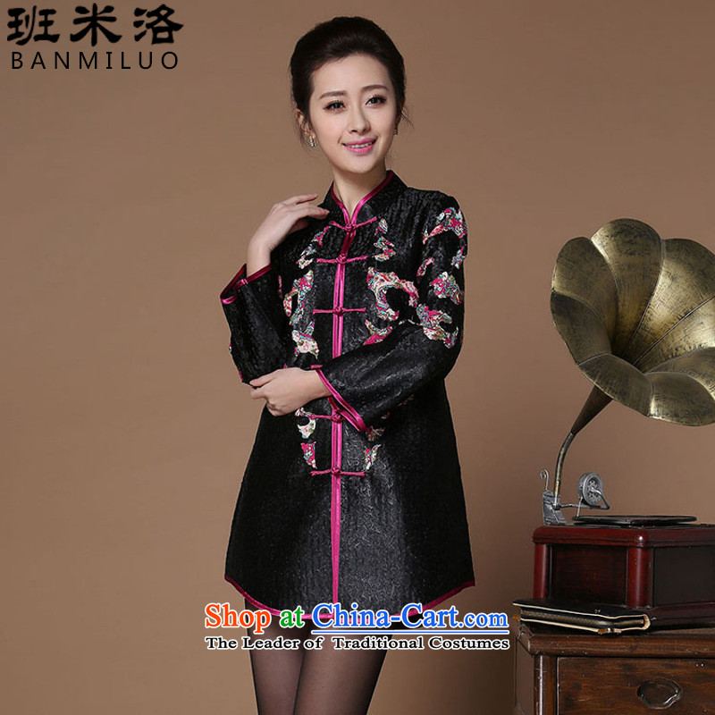 The Taliban爄n 2015, older women's new autumn replacing large silk Chinese clothing Tang China wind women national women's Black Wind燲XXXL