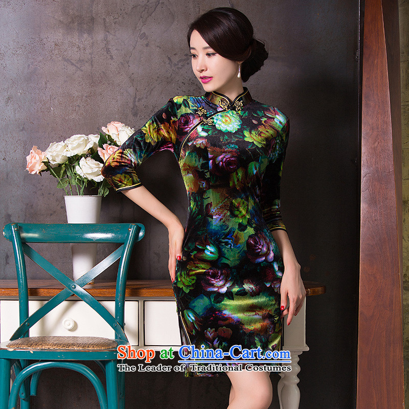 Floral燼utumn 2015 Women's clothes improved cheongsam dress Chinese Sau San velvet collar retro seven short-sleeved qipao Figure�L color
