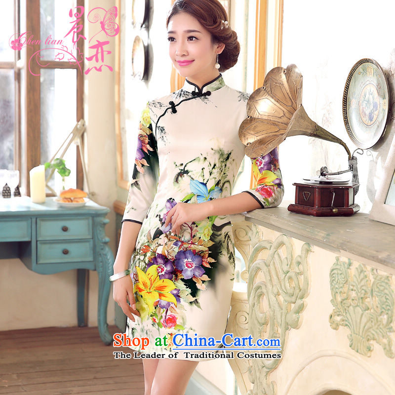 Morning spring and autumn 2015 Land New Stylish retro short, long-sleeved improved sauna silk cheongsam dress flower lovers Suit燤