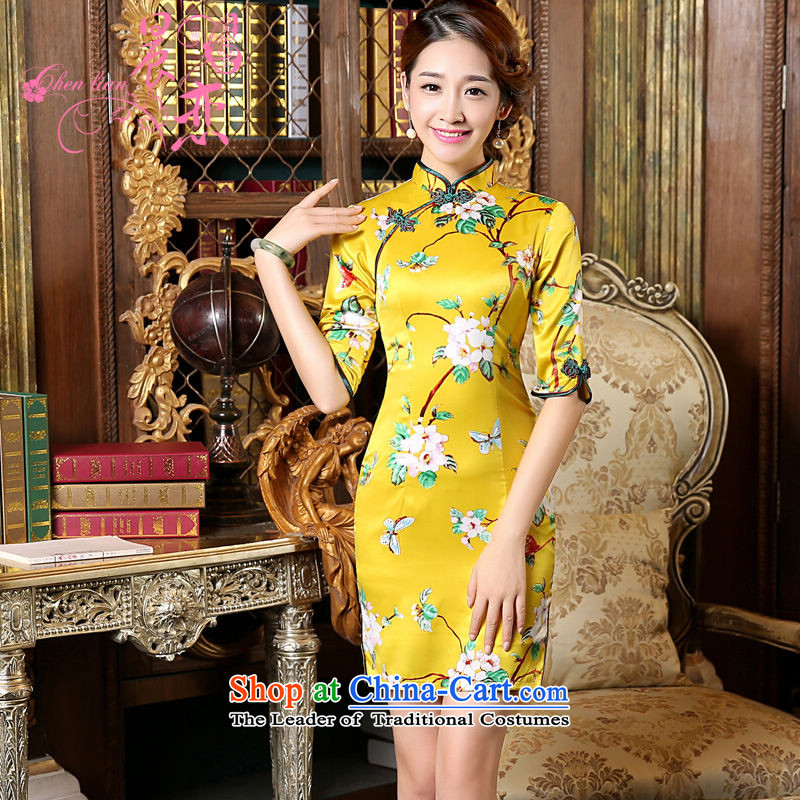 Morning spring and autumn 2015 Land New Stylish retro short, long-sleeved improved sauna silk cheongsam dress Nga Yun yellow?L