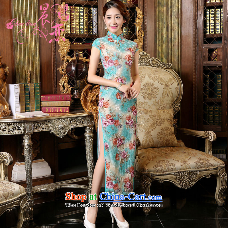 Morning spring and autumn 2015 new land improvement and Stylish retro short-sleeved long wool cheongsam dress blue green light blue燣